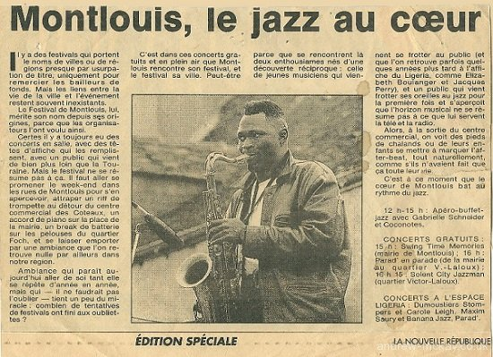 La Nouvelle Republique article on Festival Jazz en Touraine